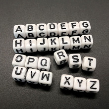 100pcs 6mm Letter Beads Square 26 Alphabet Beads White Acrylic Beads DIY Jewelry Making For Bracelet Necklace Accessories 500 1000 2600pcs bag 6 6mm cube acrylic letter beads white with black printed mixed a z alphabet initial plastic square beads