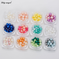 12Colors Set Women Fashion 3D Pearls Full Round Beads Nail Art Tips Glitter Acrylic Manicure DIY