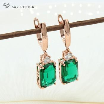 3fc99a18695d S y Z nueva moda cuadrado Zircon de cristal 585 oro rosa pendientes  elegante temperamento personalidad Simple colgante geométrico aretes