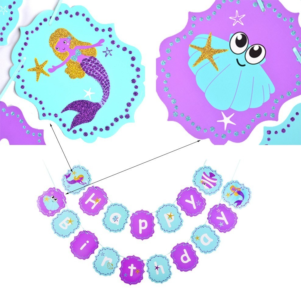 Little Mermaid Party Decoration Garland Happy Birthday Banner For Kids Girl Theme Supplies