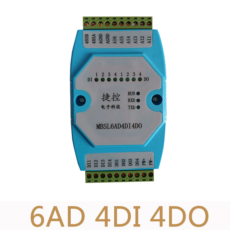 6AD/4DI/4DO Road 0-20mA Analog input 4 Road digital output Module MODBUS communication RS485 data acquisition isolation