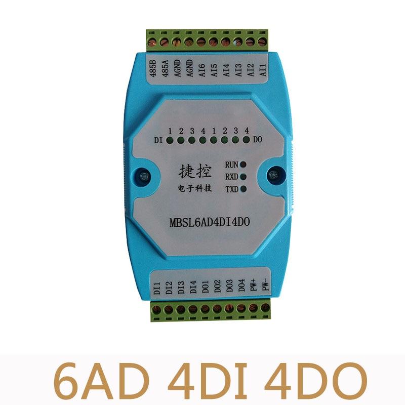 6AD/4DI/4DO Road 0 20mA Analog input 4 Road digital output Module MODBUS communication RS485 data acquisition isolation