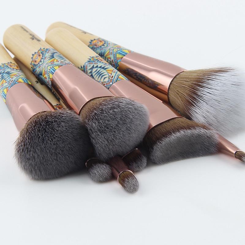 SexeMara Makeup Brushes 12PCS Set Bamboo Make Up Brush Soft Synthetic Collection Kit Powder Contour Eyeshadow Eyebrow Brushes