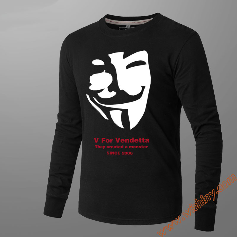 V For Vendetta Long Sleeve T Shirts Crew Neck Movie Tees 100% Cotton Printing Tshirts Black Subcoat Loose Fit Unisex