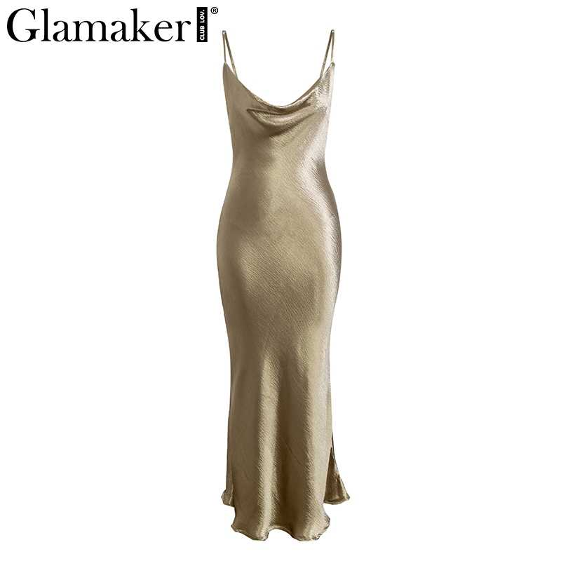 Glamaker Backless Dress ... Glamaker Glod satin lace up sexy dress Women backless fashion silk long  party dress Elegant club