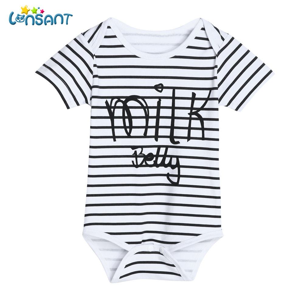LONSANT Newborn Infant Baby Kids Girls Short Sleeve Letter  Casual Print Romper Jumpsuit Outfits Girls Clothes