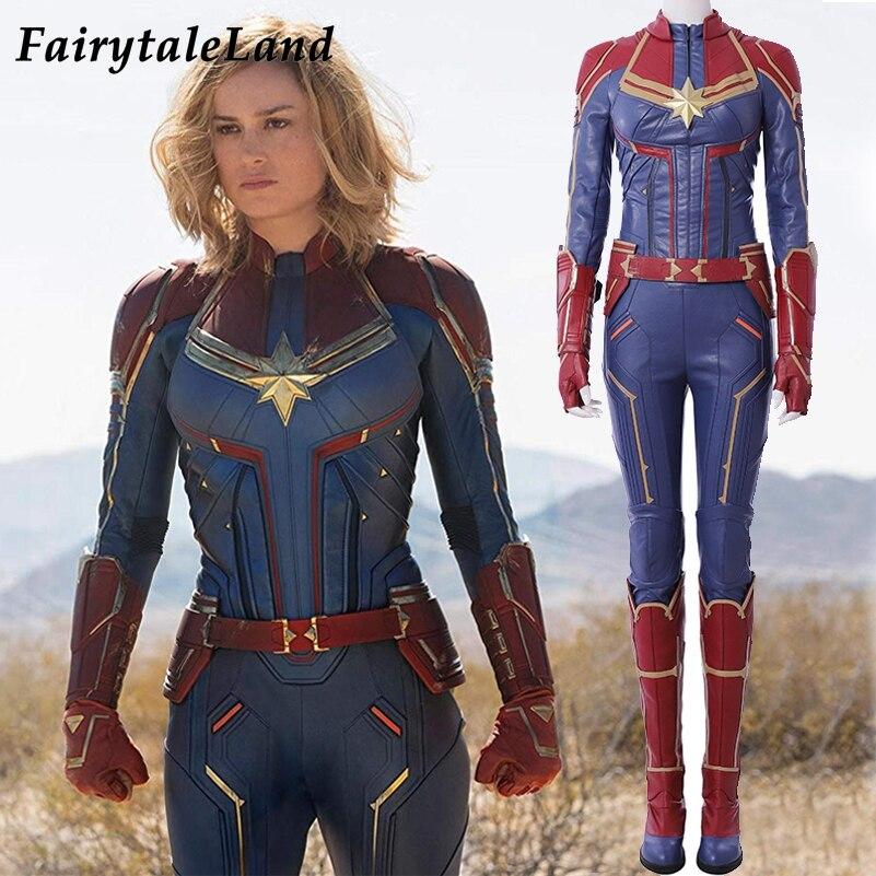 Capitão Marvel Carol Danvers 2019 Miss Marvel Superhero Halloween Trajes Cosplay Traje Macacão Cosplay Carol Danvers Traje