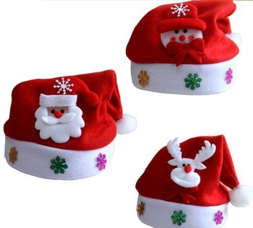 2018 Baby Boys Girls Soft Christmas Hats Reindeer Snowman Santa Claus Print Red Holiday Zx