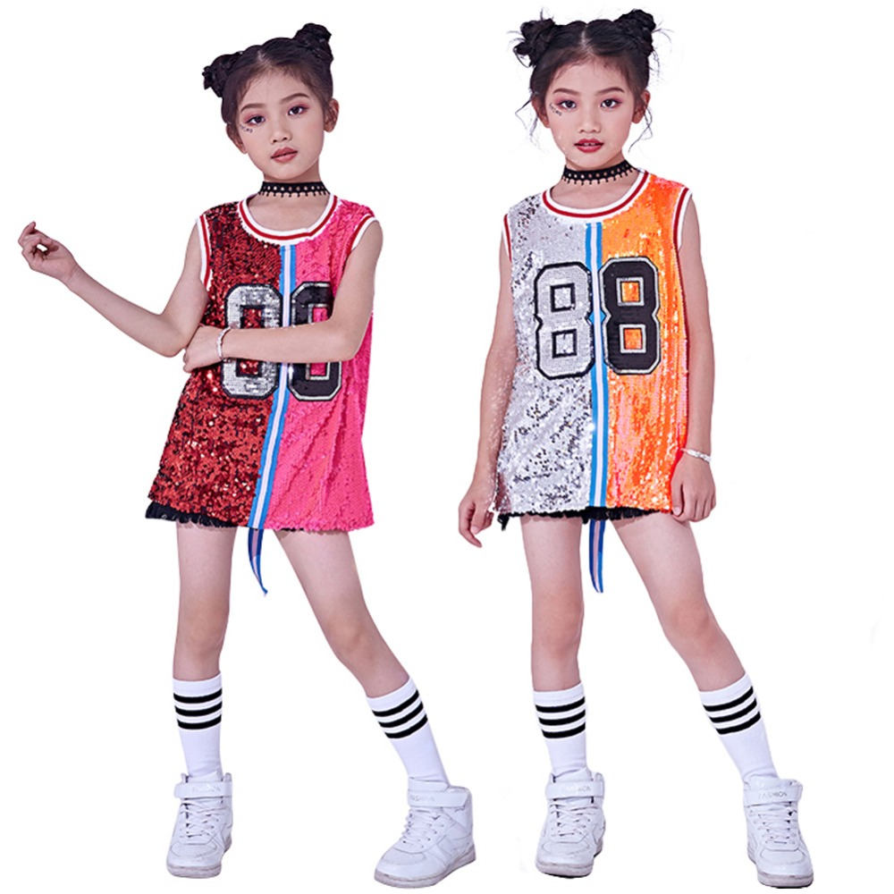 db204ec639d0 Kids Girls Sequins Costume Hip Hop Jazz Dancewear Sparkle Sleeveless Tank Top  Dress. Mouse over to zoom in