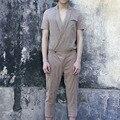 Брюки 2015 новый мужская одежда персонализированные с коротким рукавом гарем комбинезон мода мужчины начальная певица костюмы одежда