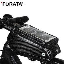 TURATA الجبهة العلوي أنبوب الهاتف حقيبة دعامة حامل موقف دراجة هوائية ل فون X 8 7 سامسونج الهاتف المحمول الدراجة حامل للماء حقيبة