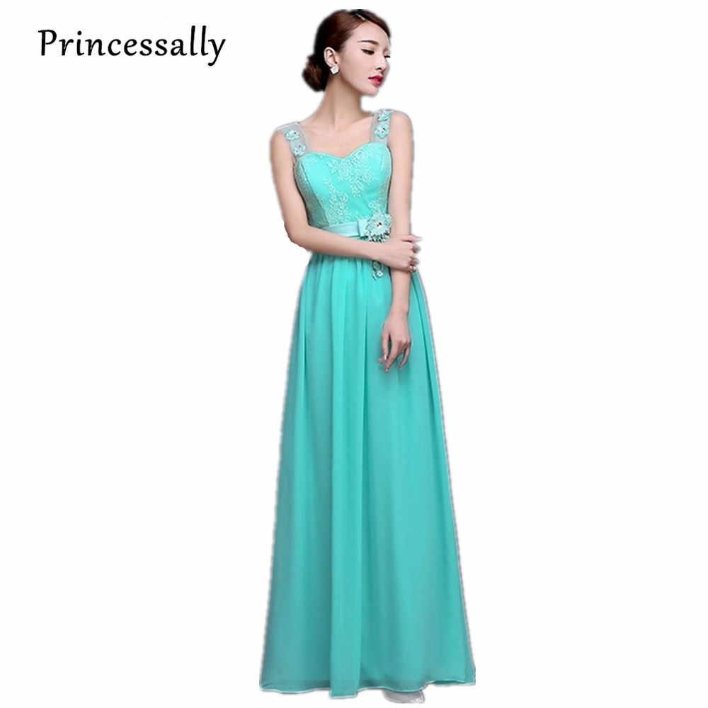 d061cebc458 Vestido De Festa turquesa Vestido De dama De gasa en dos tonos dama De  honor azul