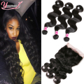 Cheap 360 Lace Frontal With Bundle Indian Body Wave Lace Frontal With Bundle 3 Bundles Indian Body Wave With 360 Frontal Closure