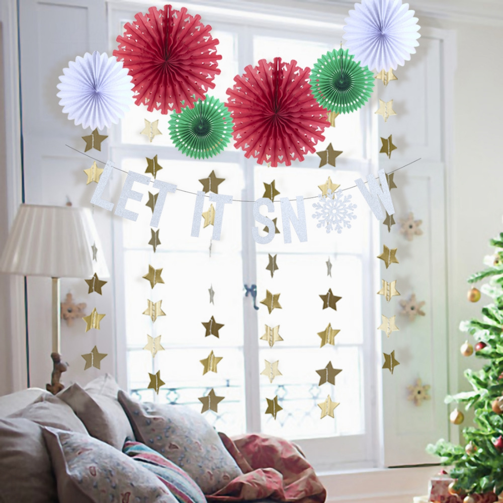 Pack of 10 Christmas Paper Decoration Kit Let It Snow Banner Snowflake Cut-out Paper Fans Star Garland Christmas Paper Crafts