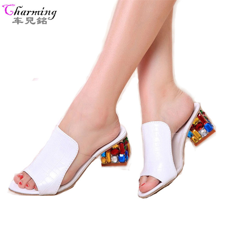 Women Sandals 2016 Ladies Summer Slippers Shoes Women high Heels Sandals Fashion Rhinestone summer shoes new  ALF19 цены онлайн