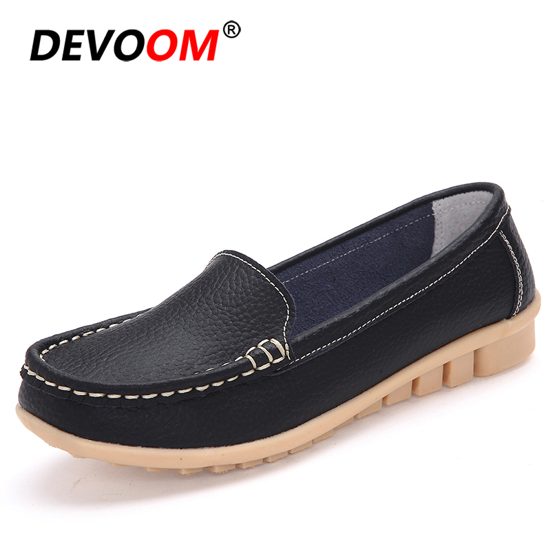 Fashion Women's Shoes Walking Moccasin Shoes Women Loafers Women Slip on Shoes Instappers Dames Womens Flats 2019 Big Size 35-41 image
