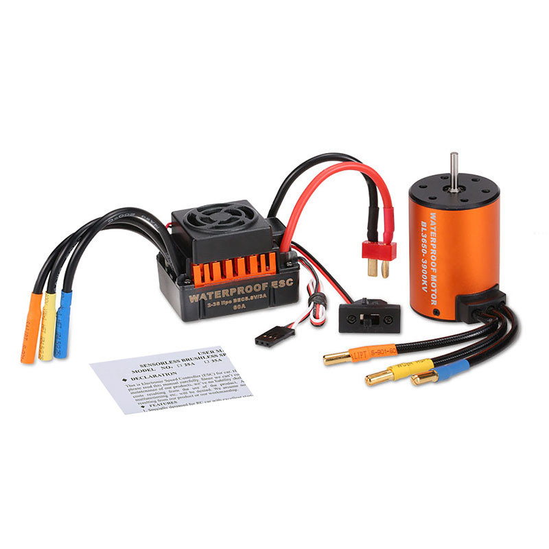 GoolRC Waterproof 3650 3900KV Motor w/ 60A ESC Combo Set for 1/10 RC Car Truck GoolRC 3650 3900KV Motor w/ 60A ESC Combo surpass hobby upgrade waterproof 3650 3900kv rc brushless motor with 60a esc combo set for 1 10 rc car truck motor kit