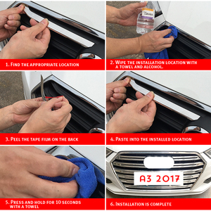 Image 5 - OYAMARIVER Orijinal Yeni ABS Ön Izgara Dekoratif Kapak Trim Şeritleri 10 adet Için Audi A3 Araba Styling Tampon dekorasyon Çıkartmaları