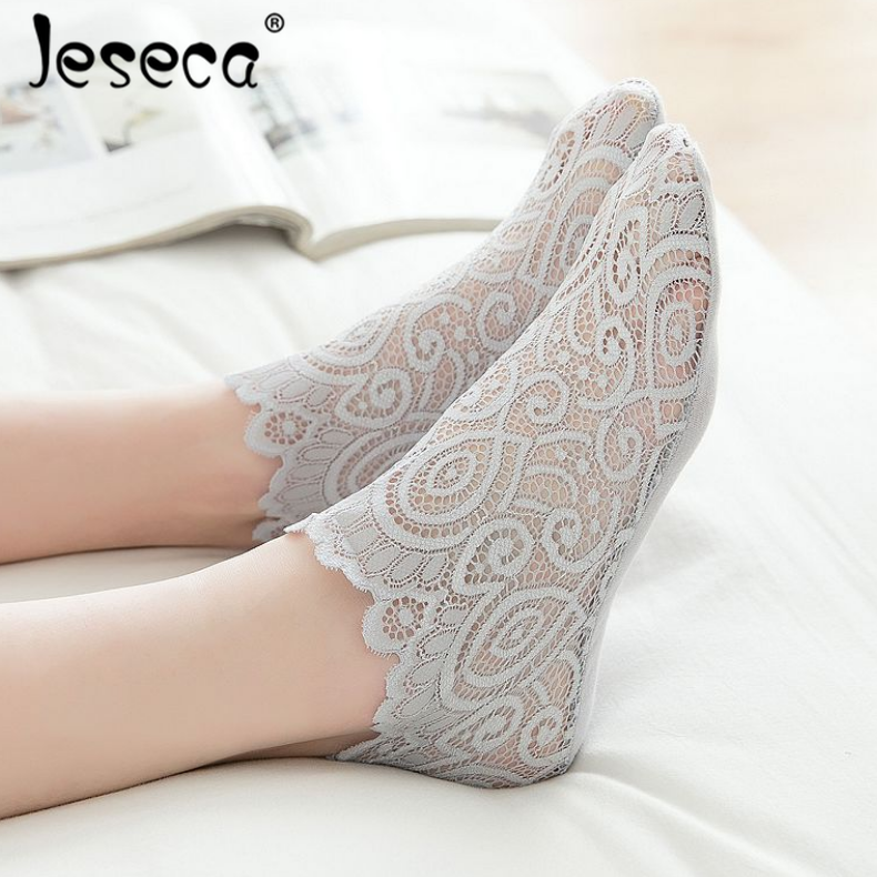 1 Pair Fashion Women Girls Spring Summer Lace Mesh Floral Design Short   Sock   Antiskid Invisible Thin Ankle   Socks   2019 Sox