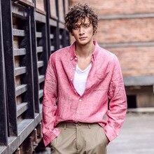 Мужская одежда, рубашки, новинка, лето, весна, Мужская одежда, лен, рубашки для мужчин, синий, розовый, Ретро стиль, квадратный воротник, длинный рукав, на каждый день