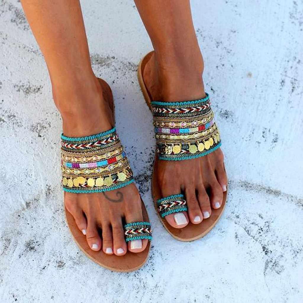נשים Artisanal סנדלי כפכפים בעבודת יד יווני סגנון Boho כישלון להעיף סנדלי Streetwear אופנה נעלי נשים chaussures femme