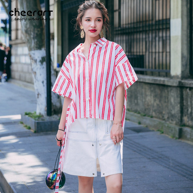 55a85dfaeeb9 Cheerart 2017 Women Blouses Pink And White Striped Shirt Tie Front Lace Up  Short Sleeved Loose Summer Top Korean Fashion Blouse