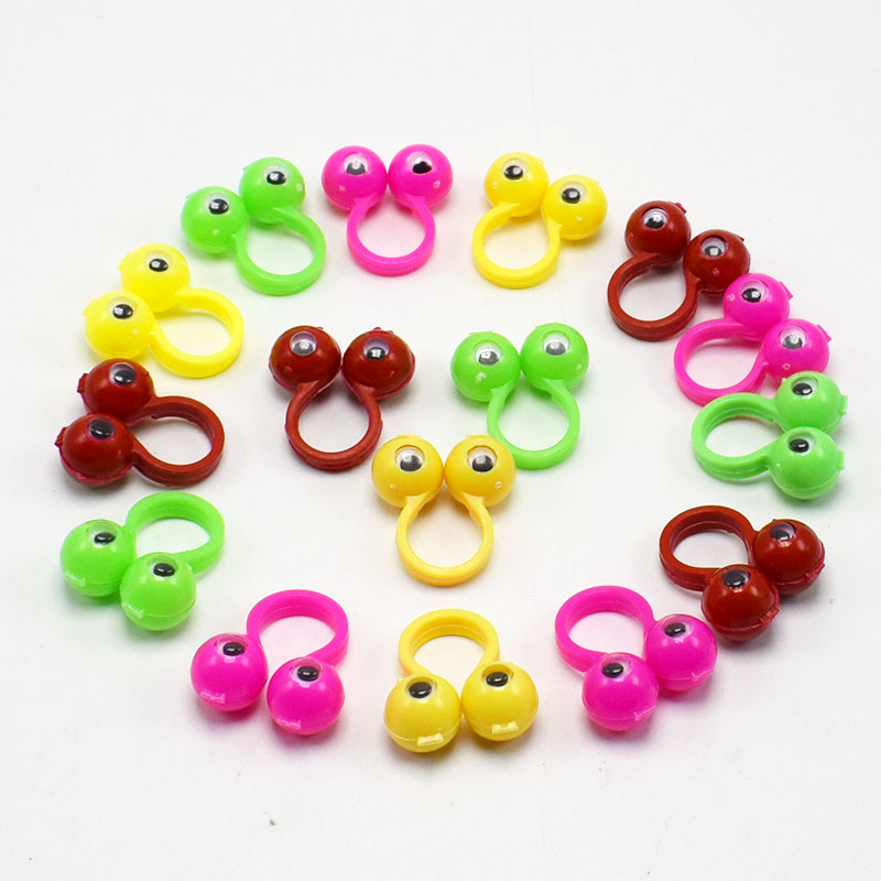 20pcs/lot Plastic Rings With Wiggle Eyes Finger Spies Eyes Gift Toy For Birthday Party Kids Random Color