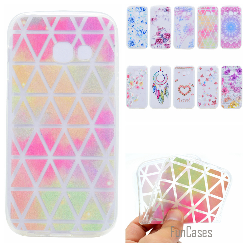 Cute Phone Case For Samsung Galaxy A7 2017 Coque Colorful Dandelion Style Soft TPU Capa  ...