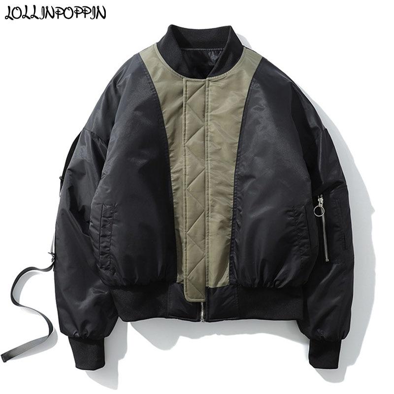 Men Patchwork Color Bomber Jacket Japan Military Style Letters Printed Flight Jacket Stand Collar Mens Padded Coat Drop Shoulder