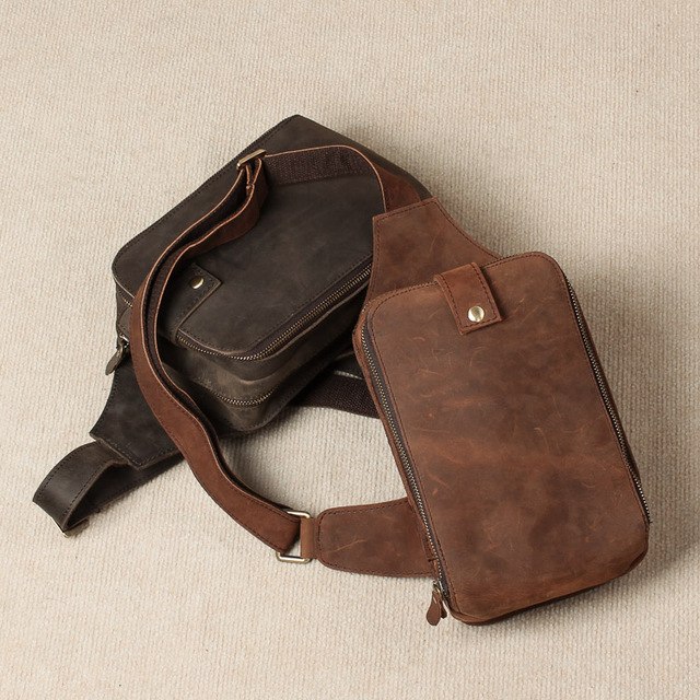 "Top Quality Genuine Real Leather Cowhide men vintage Brown 10"" Chest Bag Waist Pack Pouch"