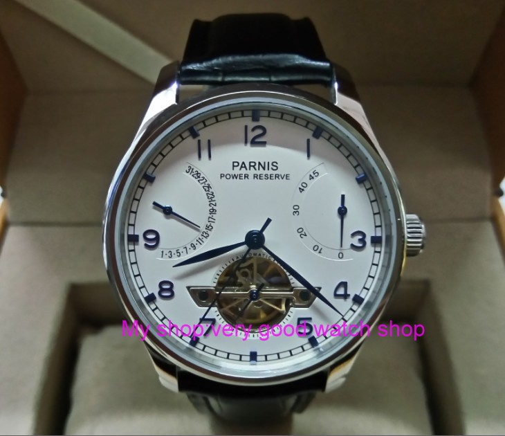 43MM PARNIS ST2530 Automatic Self-Wind movement white dial power reserve men's watch Mechanical watches GQ9a 40mm parnis white dial vintage automatic movement mens watch p25