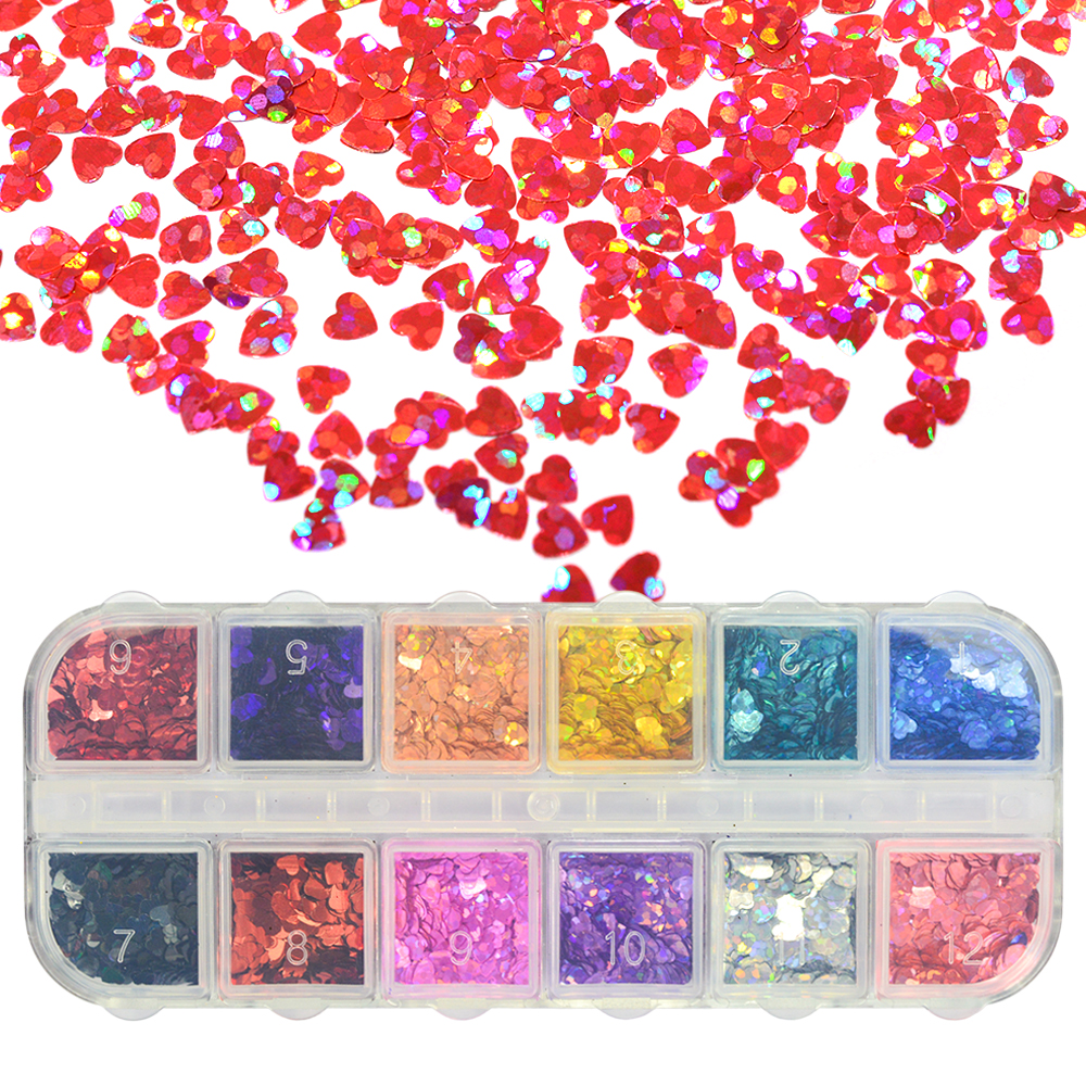 1 Case Heart Shaped Nail Glitter Sparkly Sequins