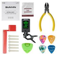 Acoustic Guitar Accessories Guitar Strings Replace Kit include String Winder String Cutter Tuner Bridge Pin picks&Pick Hoder