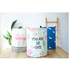 цены на Cute Cartoon Flamingo Laundry Basket Bedroom Dirty Clothes Storage Bucket Round Folding Waterproof Kid Toys Storage Basket  в интернет-магазинах