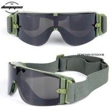 купить 3 Lens Military Shooting Glasses Anti-fog Tactical Goggles Hunting Hiking Eyewear Sunglasses Airsoft Paintball Wargame Goggles дешево
