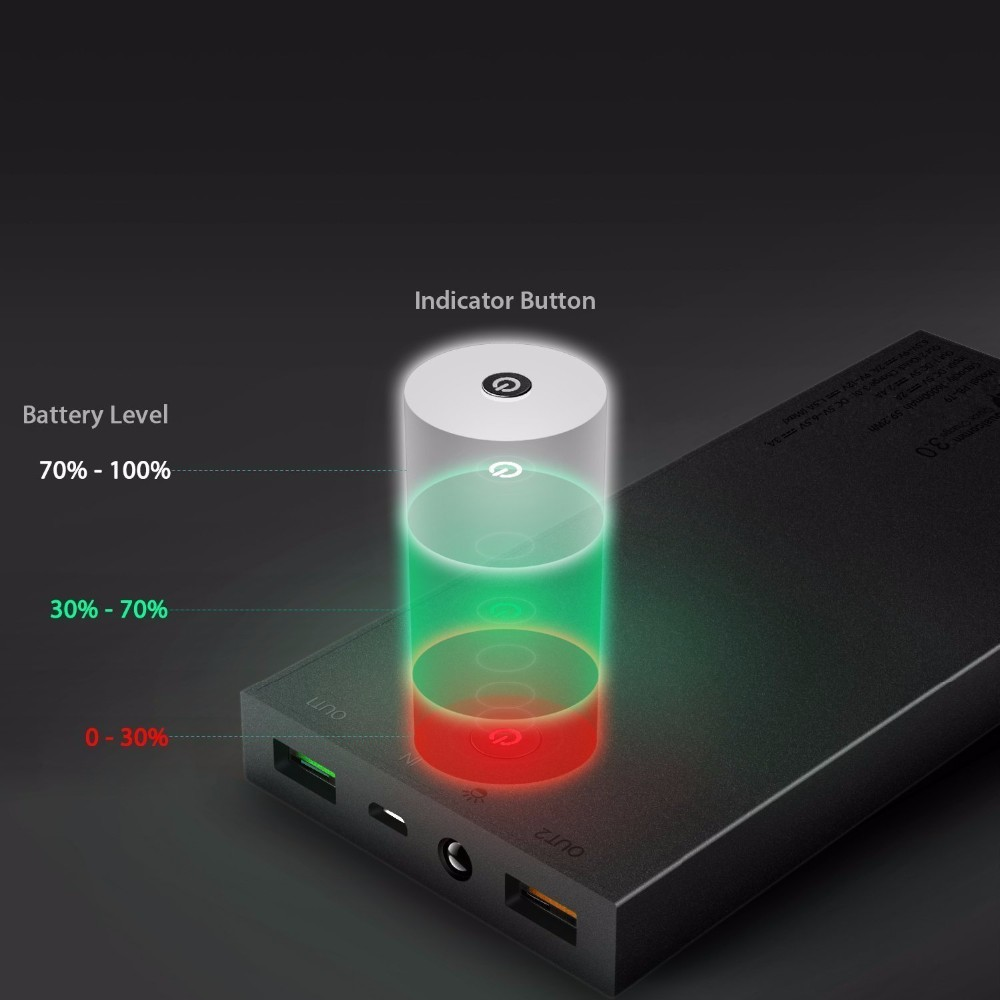 AUKEY Quick Charge 3.0 16000mAh Power Bank Dual Port With AiPower Adaptive Charging Portable External Battery for Mobile Phone