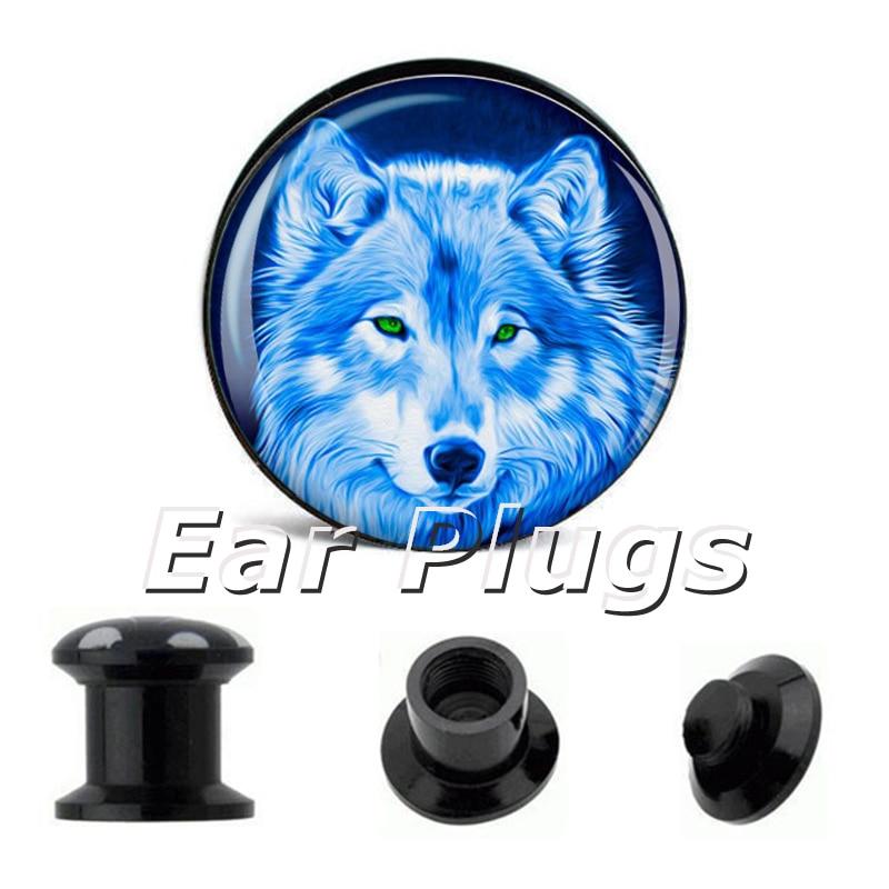 Wholesale 60pcs blue wolf plug acrylic screw fit flesh tunnel ear plug gauges expander stretchers
