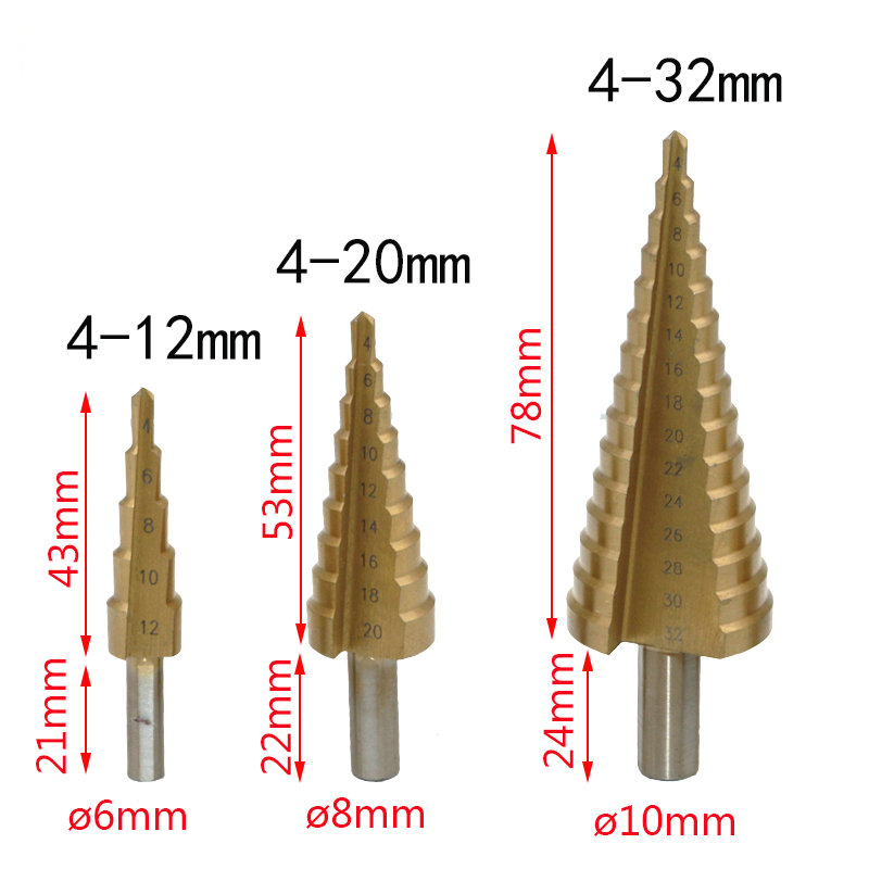 4-12mm-4-20mm-4-32mm-HSS-4241-Steel-Large-Step-Cone-Titanium-Coated-Metal-Drill (5)