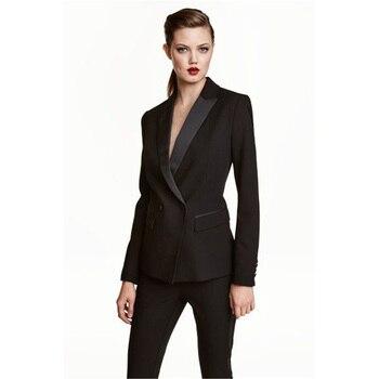 Womens Business Work Pant Suits Set Blazer Formal Slim OL Elegant Double Breasted Female Office Uniform Evening 2 Piece Set