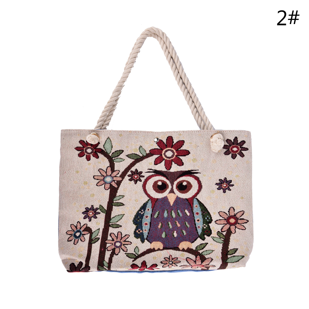 Large Shopping Bag Floral And Owl Printed Canvas Tote Beach Bags Daily Use Canvas Handbags