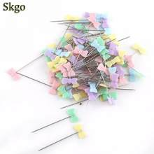 100Pcs/lot Sewing Accessories Patchwork Flower/Bow tie/Button Pins Sewing Pin With Box DIY Sewing Patchwork Pins Arts Crafts 1 1(China)