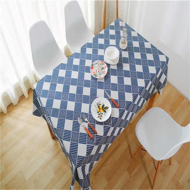 blue and white grid tablecloth cottonlinen table cloth for home hotel cafe decor geometric large size