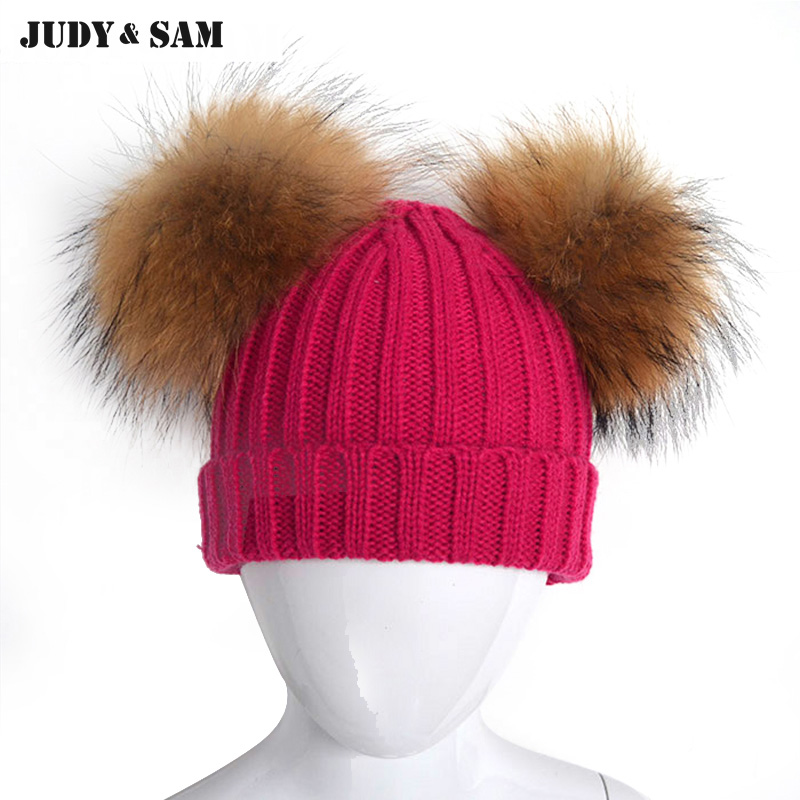 Brand New 1 3 Years Lovely Warm Winter Stripe Knit Beanie Girls Hats With Natural Color