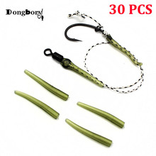 30 PCS Carp Fishing Accessories Anti Tangle Sleeve Mini Rubber Carp Fishing Rigs Making Connect with Hook 24mm Terminal Tackle sikiwind 30pcs carp fishing hook sleeve hair rig aligner sleeves soft anti tangle positioner terminal tackle carp fishing pesca