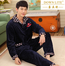 Winter sleepwear male coral fleece sleepwear male thickening flannel sleep set plus size lounge male set