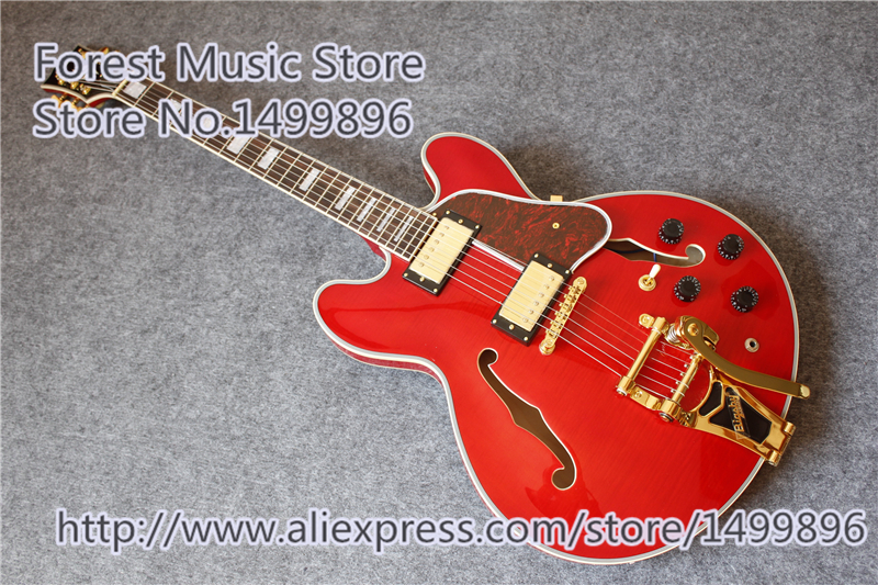 Top Selling Glossy Red Tiger Flame Finish ES Jazz Guitar Electric Hollow Maple Body For Sale top selling black glossy finish lp electric guitars chinese p90 style pickup guitar for sale