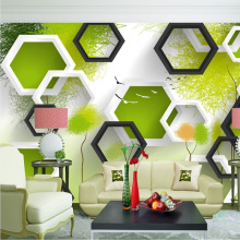 3D stereo Hexagonal large mural green graffiti seamless wallpaper living room sofa bedroom TV wall background wall covering цена 2017