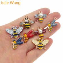 Julie Wang, 8 шт., сплав, смешанные стили, эмаль, Шмель, пчела, мед, пчела, подвески, ожерелье, подвеска, фурнитура, сделай сам, аксессуары для изготовления ювелирных изделий