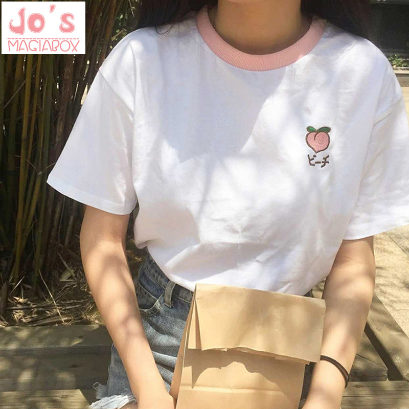 2019 New Kawaii Strawberry Embroidery Tshirt Colorful Neck Cute Tshirt Womens Tee Tops Korean Ulzzang Cute Fruit Cotton T Female