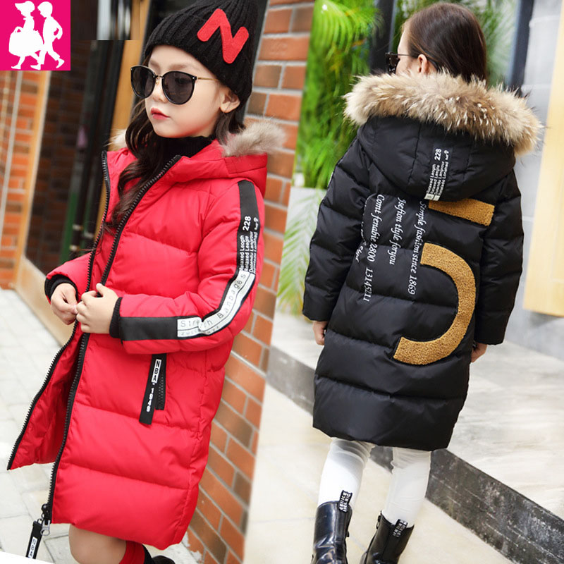2018 Kids Long Parkas Winter Jackets For Girls Fur Hooded Coat Winter Warm Down Jacket Children Outerwear Infants Thick Overcoat 300cm 200cm about 10ft 6 5ft backgrounds expensive sports car parked in front of the photography backdrops photo lk 1388